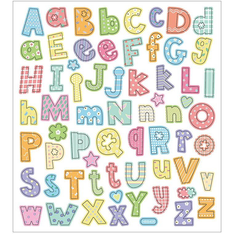 Stickers, ark 15x16,5 cm, 64 stk., alfabet, 1ark
