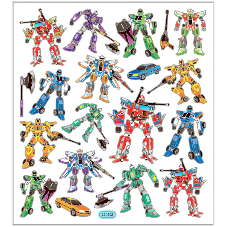 Stickers, ark 15x16,5 cm, ca. 19 stk., transformers, 1ark