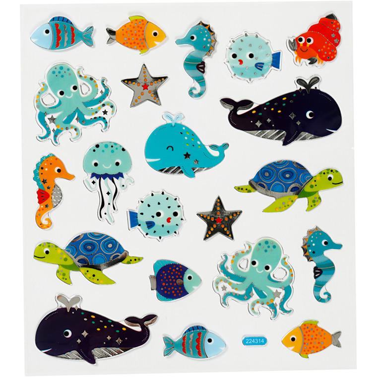 Stickers, ark 15x16,5 cm, ca. 21 stk., havets dyr, 1ark
