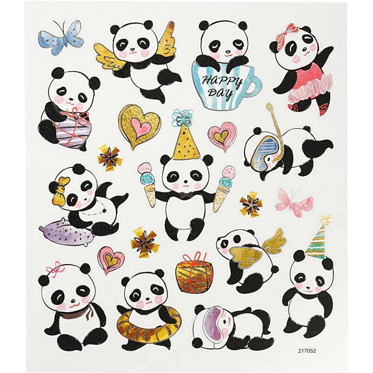 Stickers, ark 15x16,5 cm, ca. 21 stk., pandaer, 1ark