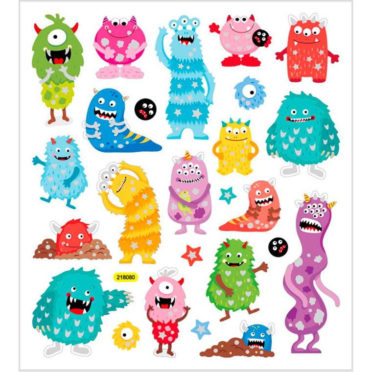 Stickers, ark 15x16,5 cm, ca. 25 stk., monstre, 1ark