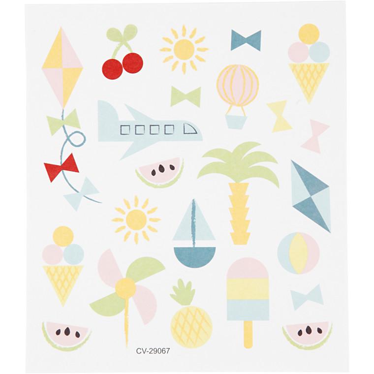 Stickers sommerferie på mat papir | 1 ark á  25 stk.