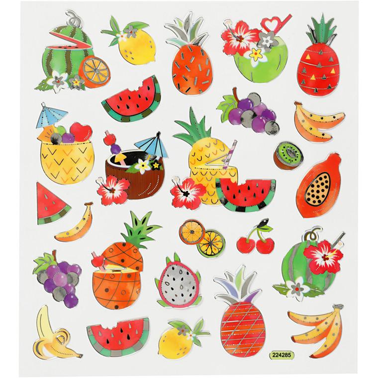 Stickers, ark 15x16,5 cm, ca. 26 stk., eksotiske frugter, 1ark
