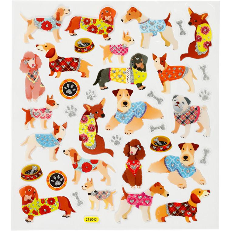 Stickers, ark 15x16,5 cm, ca. 26 stk., hunde, 1ark