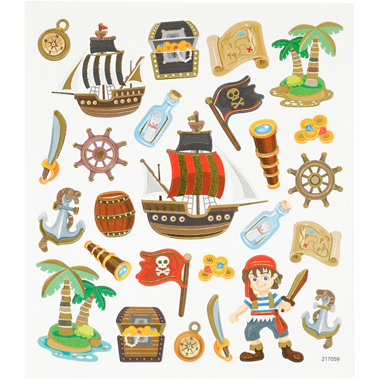 Stickers, ark 15x16,5 cm, ca. 26 stk., pirater, 1ark