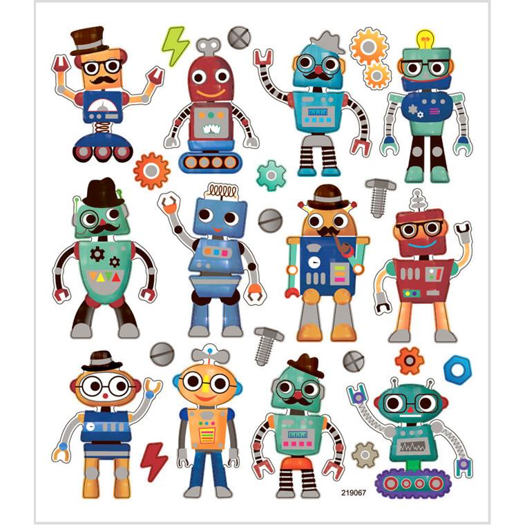 Stickers, ark 15x16,5 cm, ca. 26 stk., robotter, 1ark