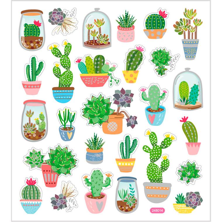 Stickers, ark 15x16,5 cm, ca. 27 stk., kaktus, 1ark