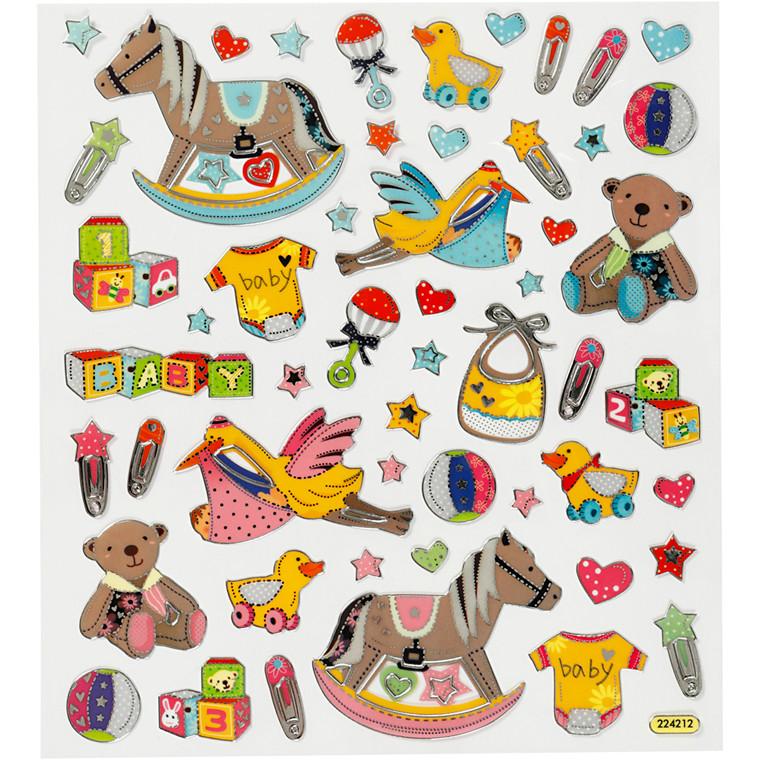 Stickers, ark 15x16,5 cm, ca. 29 stk., baby, 1ark