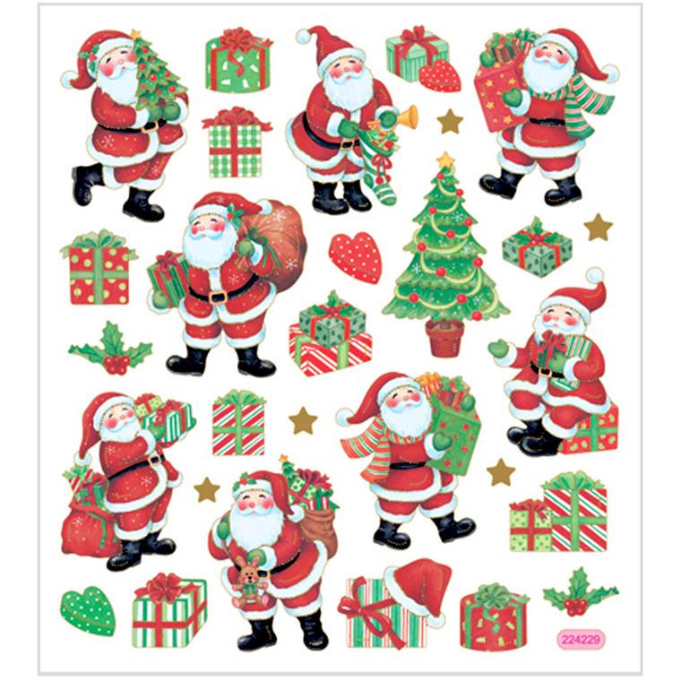 Juleklistermærker, ark 15x16,5 cm, ca. 29 stk., klassiske julefigurer, 1ark