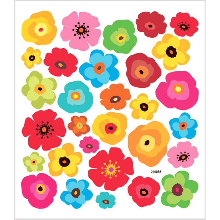 Stickers, ark 15x16,5 cm, ca. 30 stk., blomster, 1ark