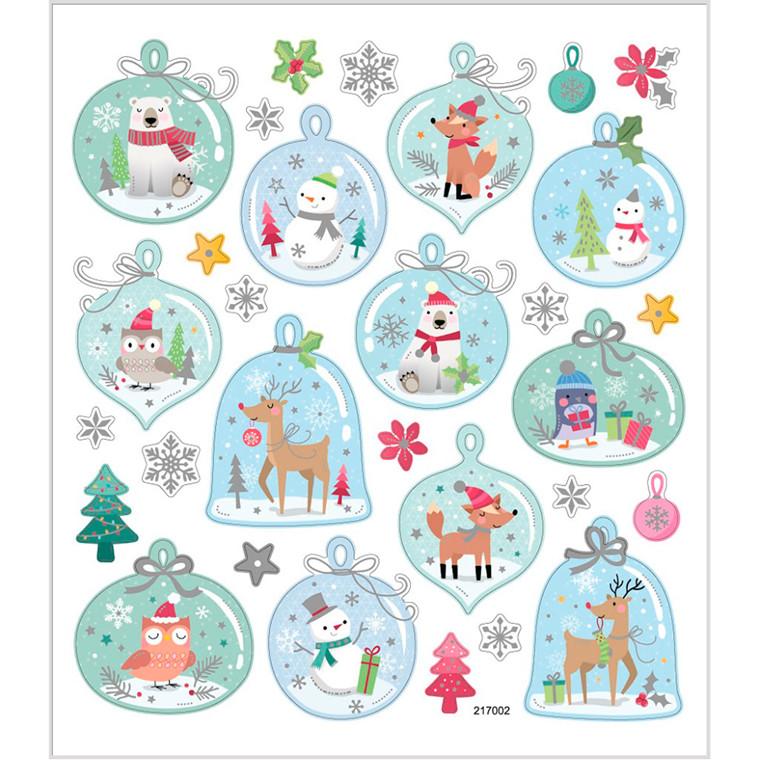 Stickers, ark 15x16,5 cm, ca. 30 stk., julemotiver i klokker, 1ark