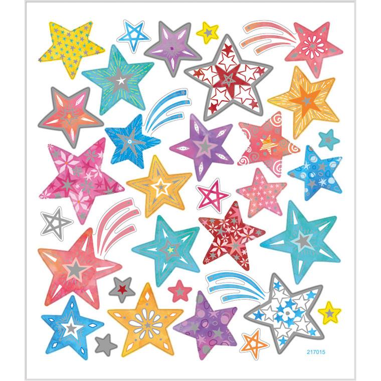 Stickers, ark 15x16,5 cm, ca. 31 stk., stjerner, 1ark