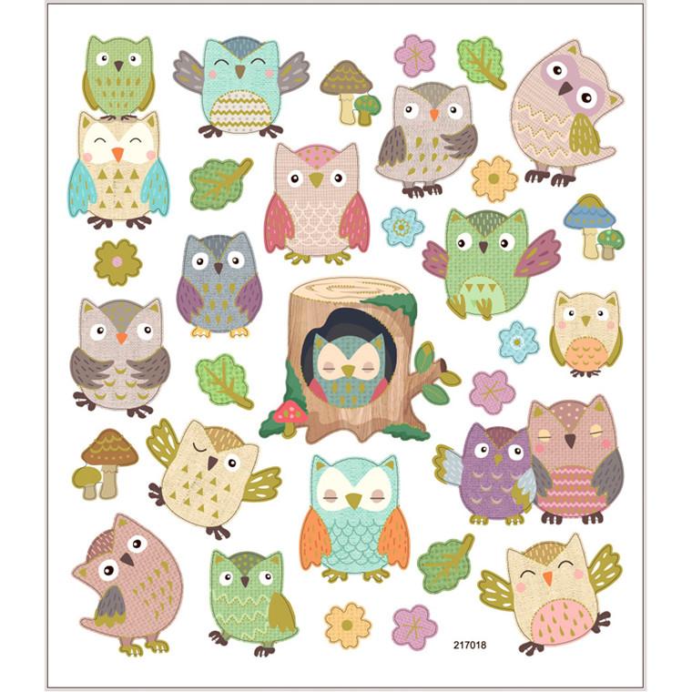 Stickers, ark 15x16,5 cm, ca. 31 stk., ugler, 1ark