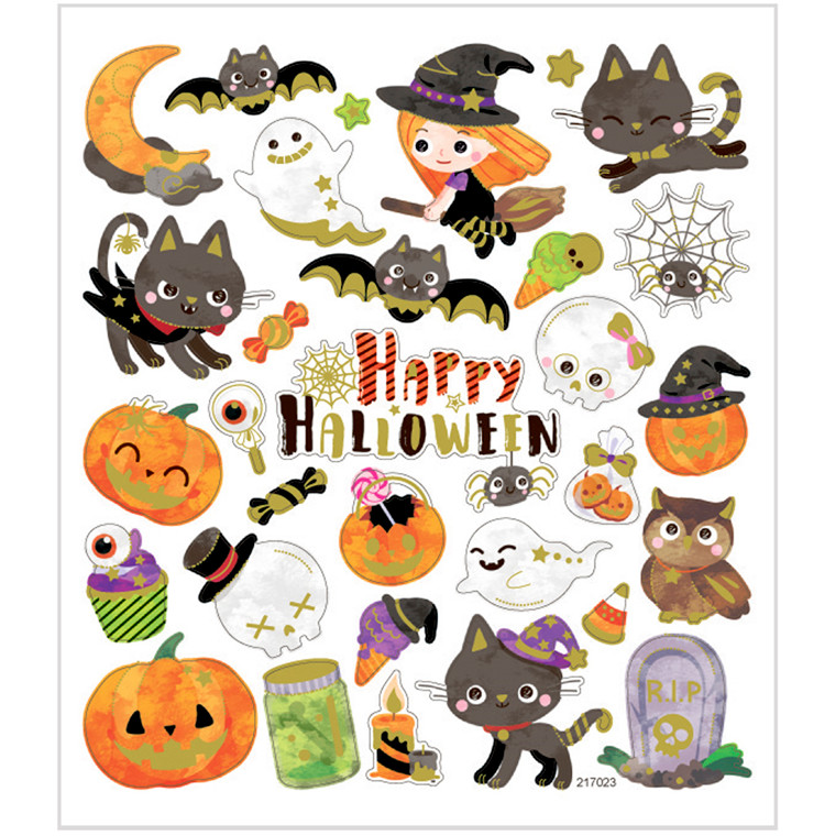 Stickers halloween motiver i papir med detaljer i metalfolie | 1 ark á 32 stk.