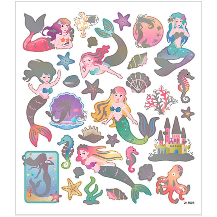 Stickers søde havfruer i  papir med detaljer af metalfolie | 1 ark á  32 stk.