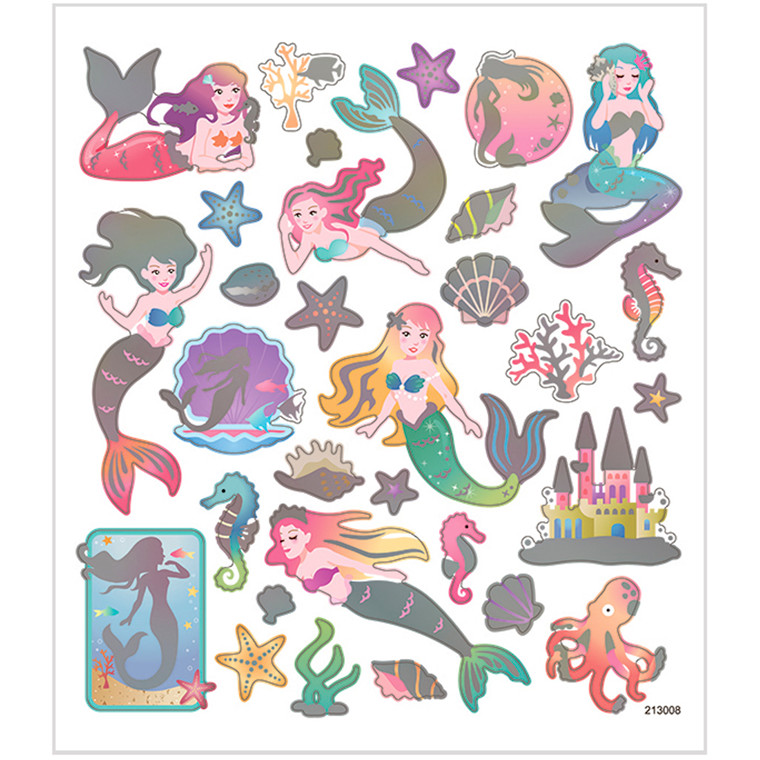 Stickers, ark 15x16,5 cm, ca. 32 stk., havfruer, 1ark