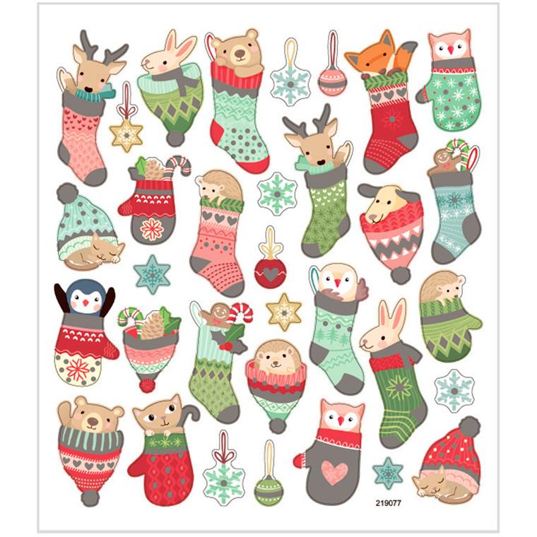 Stickers dyr i julesok af papir med detaljer i glitter | 1 ark á 33 stk.