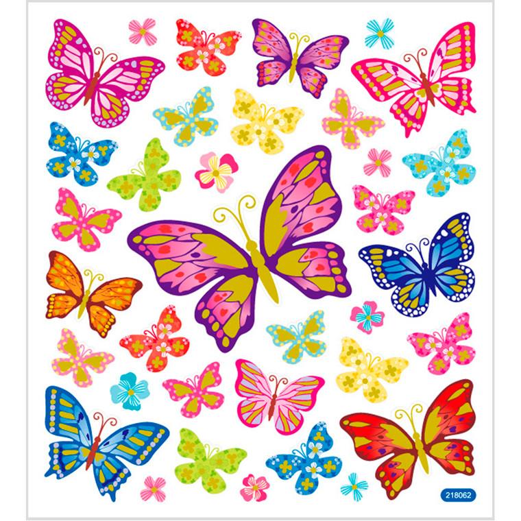 Stickers, ark 15x16,5 cm, ca. 35 stk., sommerfugle, 1ark