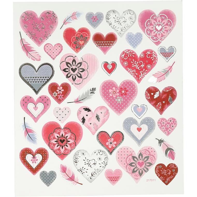 Stickers, ark 15x16,5 cm, ca. 37 stk., hjerter, 1ark