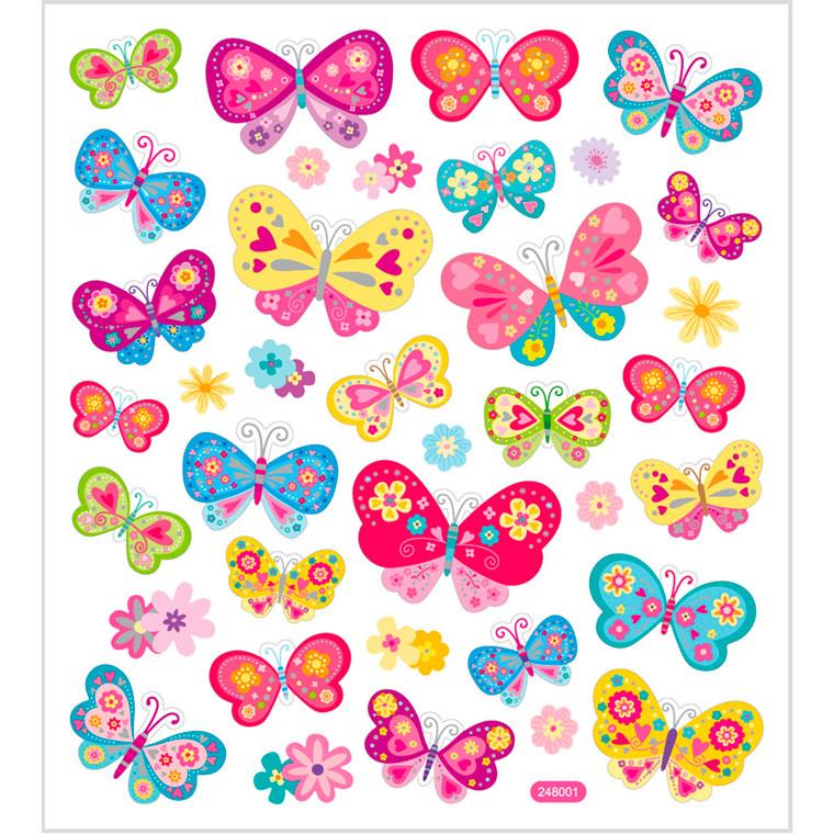 Stickers, ark 15x16,5 cm, ca. 37 stk., sommerfugle, 1ark