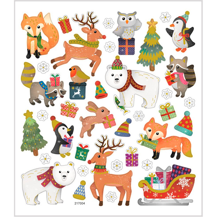 Stickers, ark 15x16,5 cm, ca. 38 stk., juledyr, 1ark