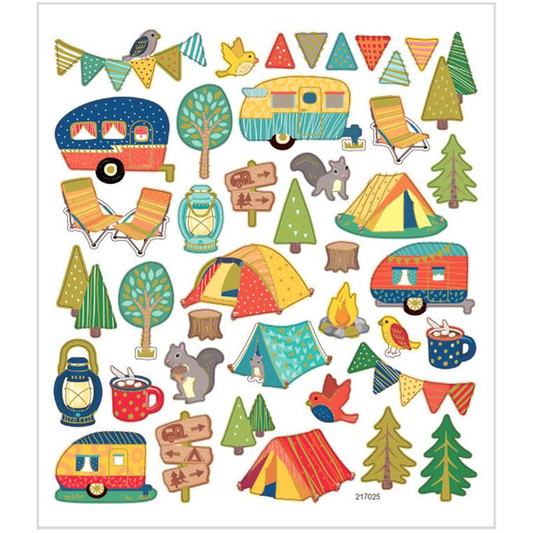 Stickers camping papir med detaljer i metalfolie | 1 ark á 40 stk.