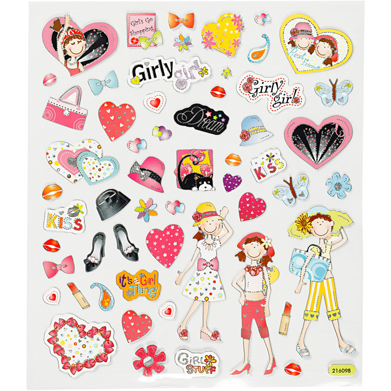 Stickers, ark 15x16,5 cm, ca. 40 stk., pigetid, 1ark
