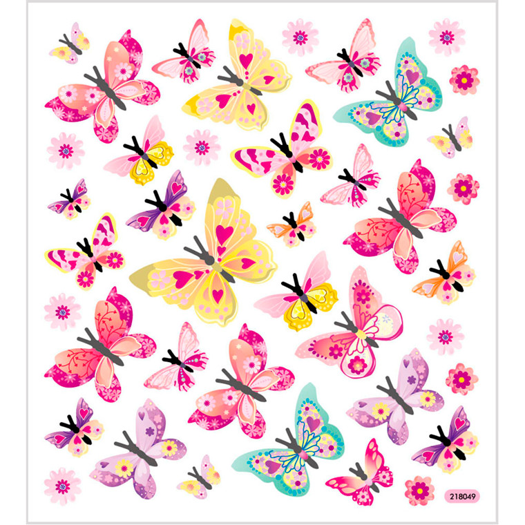 Stickers, ark 15x16,5 cm, ca. 40 stk., sommerfugle, 1ark