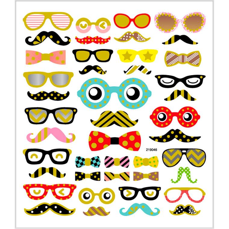 Stickers, ark 15x16,5 cm, ca. 43 stk., briller og skæg, 1ark