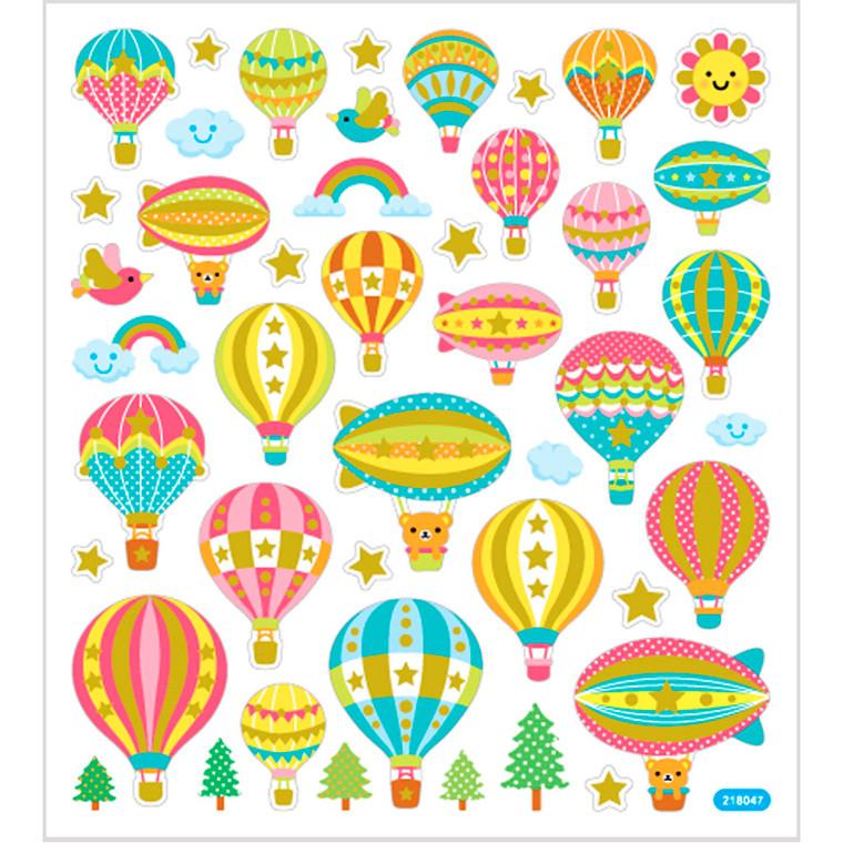 Stickers, ark 15x16,5 cm, ca. 45 stk., luftballoner, 1ark