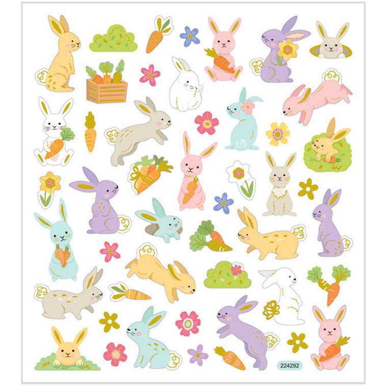 Stickers, ark 15x16,5 cm, ca. 50 stk., påskeharer, 1ark