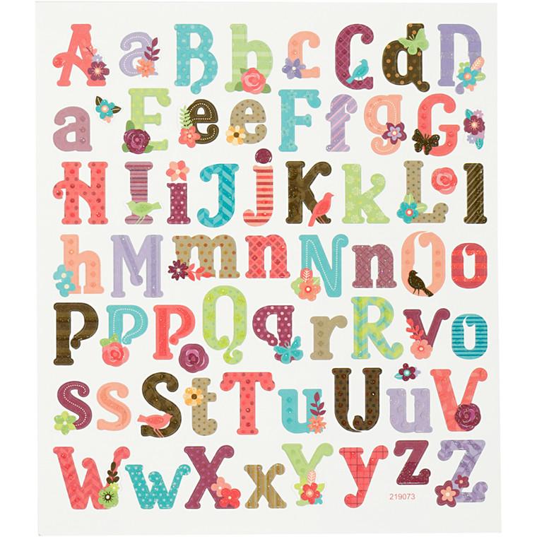Stickers, ark 15x16,5 cm, ca. 59 stk., alfabet, 1ark