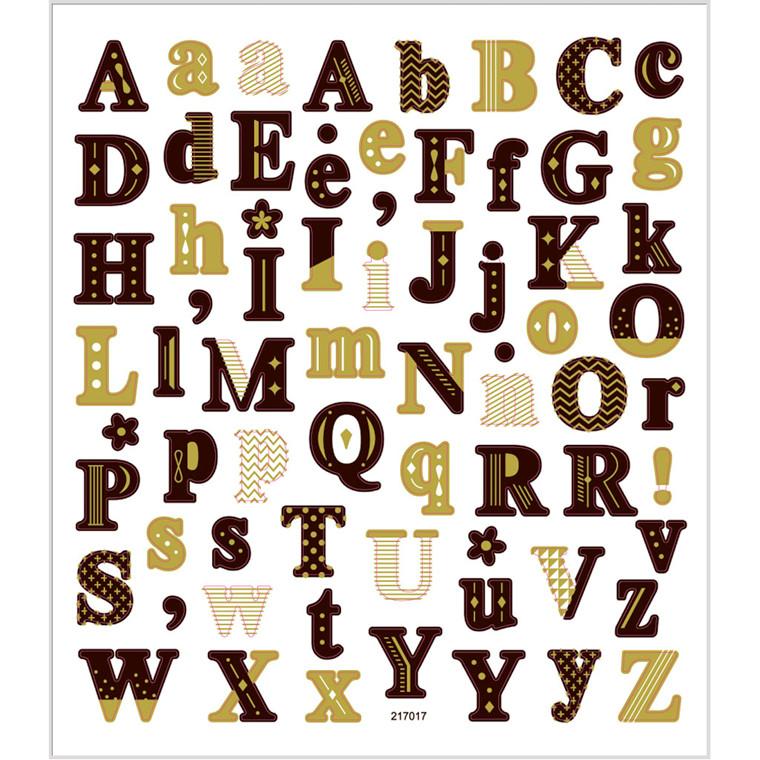 Stickers, ark 15x16,5 cm, ca. 68 stk., alfabet, 1ark