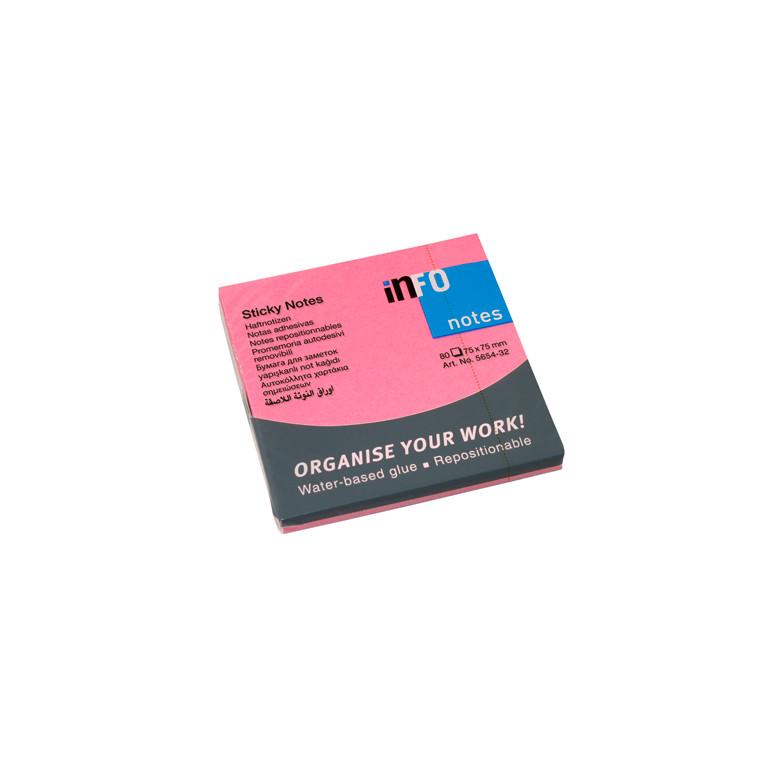 Sticky Notes - Info brilliant pink 75 x 75 mm 80 ark - 12 blokke