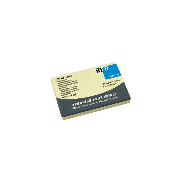Sticky Notes - Info gul 50 x 75 mm 100 ark - 12 blokke