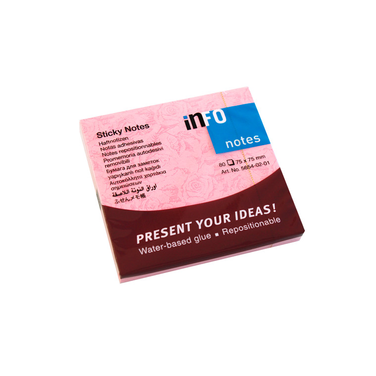 Sticky Notes - Info med roser 75 x 75 mm - 12 blokke