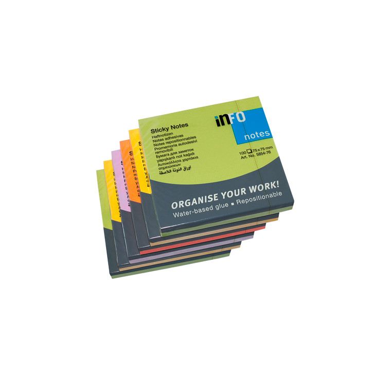 Sticky Notes Info - Spring Line 75 x 75 mm 100 ark - 6 blokke