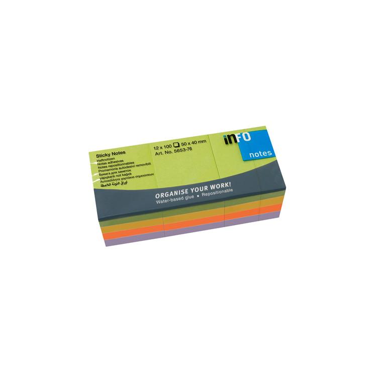 Sticky Notes - Info Spring Line mix 50 x 40 mm 100 ark - 12 blokke
