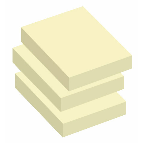 Sticky Notes - Q-Line gule  50 x 40 mm - 12 blokke