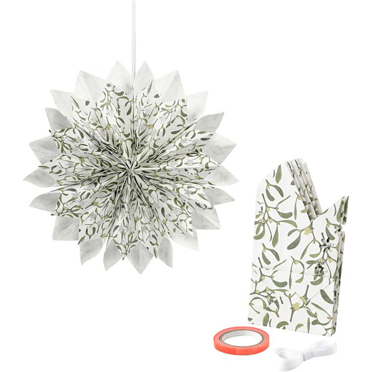 Stjerne af papirsposer 80 gram grøn hvid - 1 sæt
