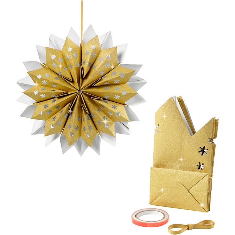 Stjerne af papirsposer 120 gram guld - 1 sæt