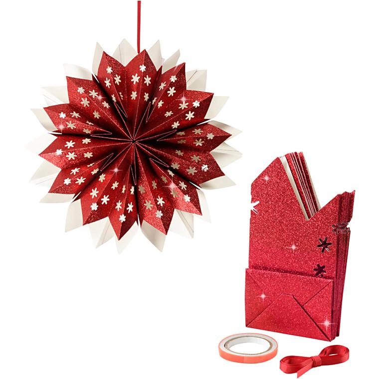 Stjerne af papirsposer 150 gram rød - 1 sæt