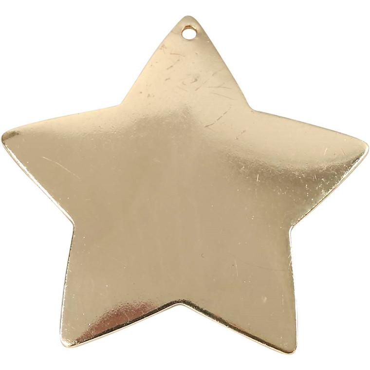 Stjerne, dia. 37 mm, hulstr. 1 mm, forgyldt, FG, 1stk.