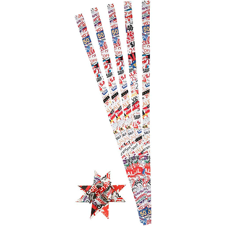Stjernestrimler, B:  15 mm, dia. 6,5 cm, 100stk., L: 45 cm