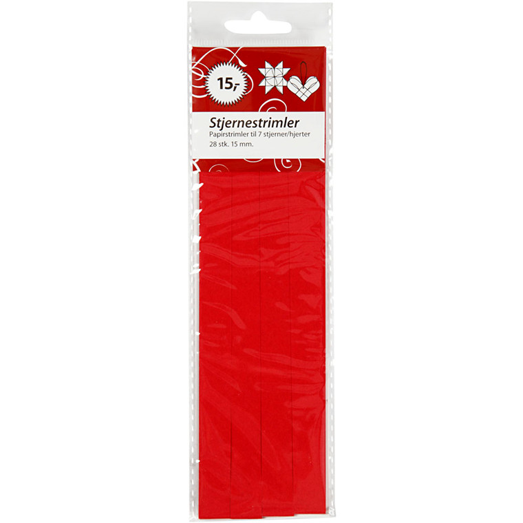 Stjernestrimler, B:  15 mm, dia. 6,5 cm, rød, 28stk.
