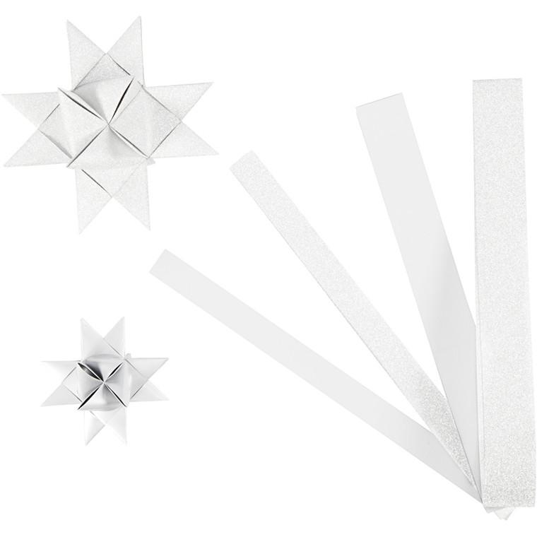 Stjernestrimler Vivi Gade hvid glitter og lak B: 15 + 25 cm Ø: 6,5 + 11,5 cm L: 44 + 78 cm | 40 strimler