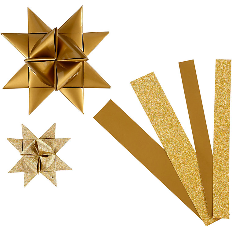 Stjernestrimler Vivi Gade guld glitter og lak B: 15 + 25 mm Ø: 6,5 + 11,5 cm L: 44 + 86 cm - 40 stk.
