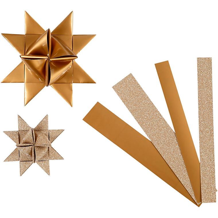 Stjernestrimler Vivi Gade kobber glitter og lak B: 15 + 25 mm Ø: 6,5 + 11,5 cm L: 44 + 86 cm - 40 stk.