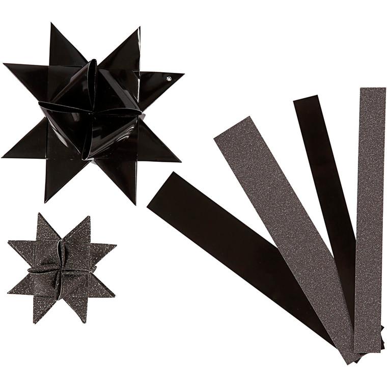 Stjernestrimler Vivi Gade sort glitter og lak B: 15 + 25 mm Ø: 6,5 + 11,5 cm L: 44 + 86 cm - 40 stk