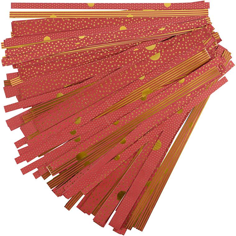 Stjernestrimler guld rød Bredde 15 + 25 mm diameter 6,5 + 11,5 cm Længde 44 + 86 cm - 48 strimler